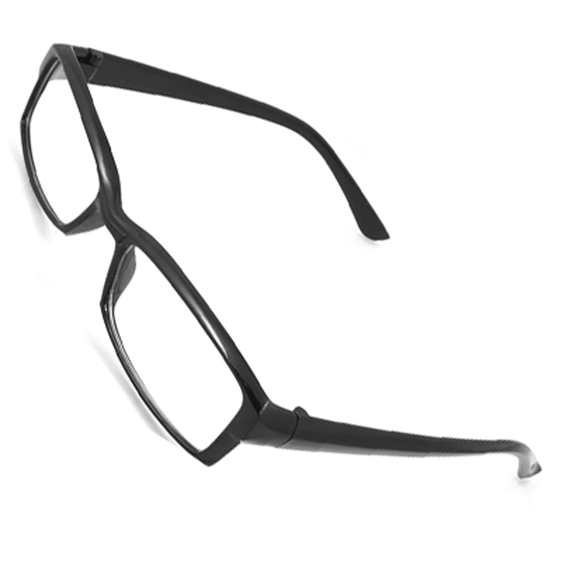 Unisex Black Plastic Full Frame Small Clear Lens Glasses