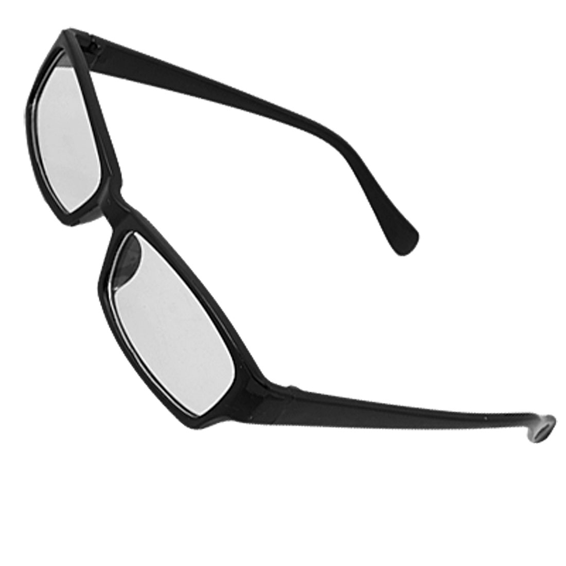 Unisex Black Rectangle Plastic Frame Clear Lens Glasses