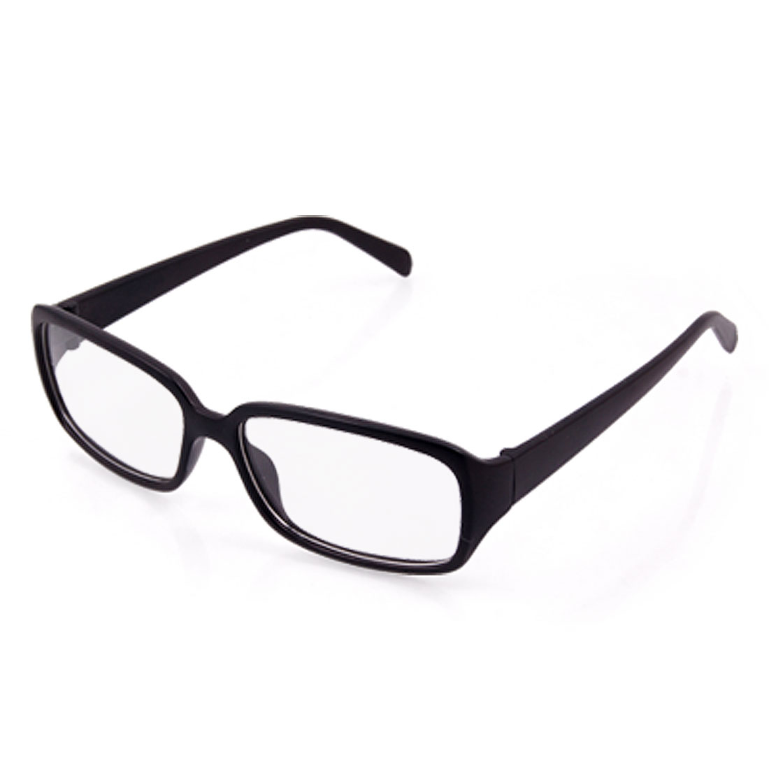Unisex Black Rubberized Plastic Wide Arms Clear Lens Glasses