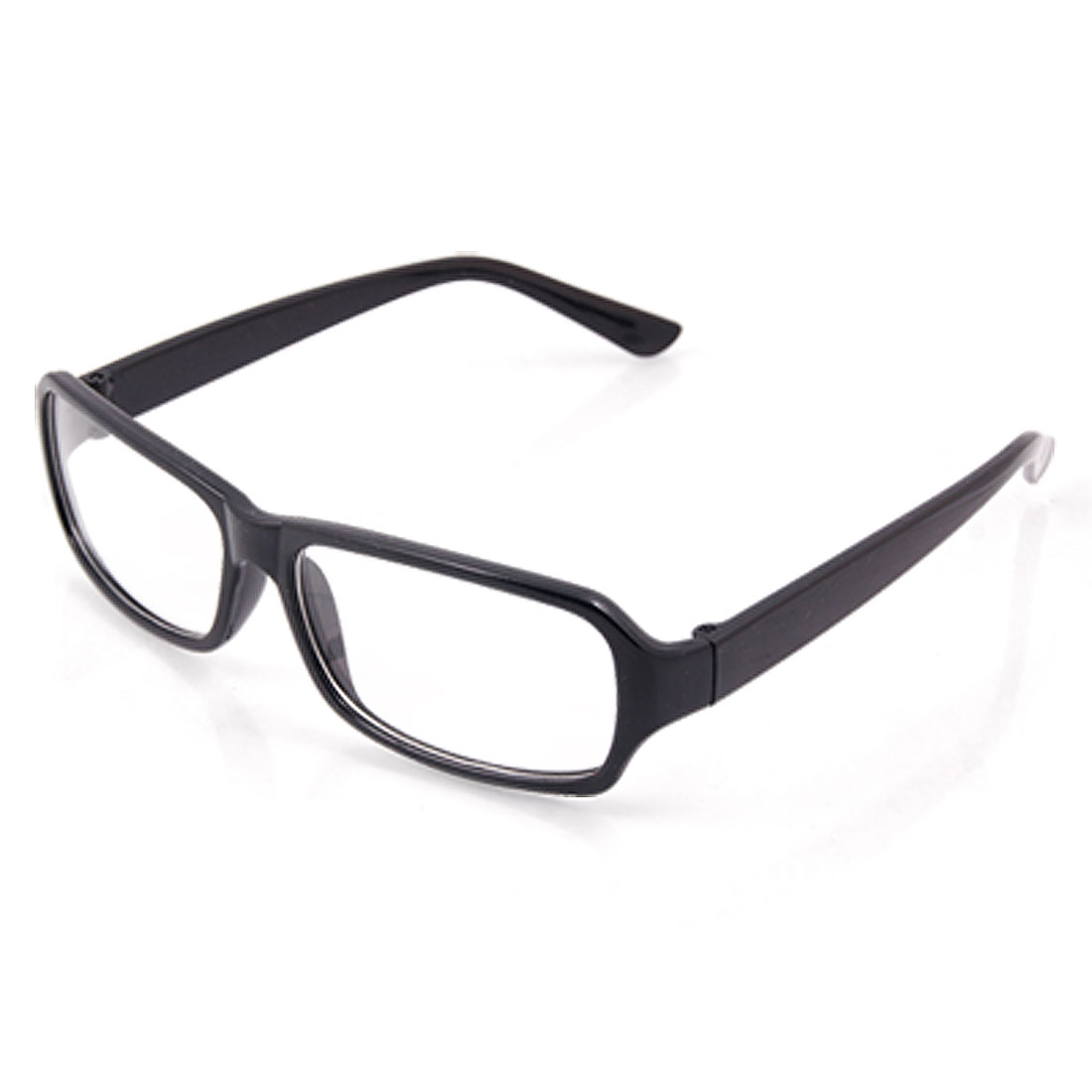 Black Polished Plastic Arms Rectangle Clear Lens Glasses