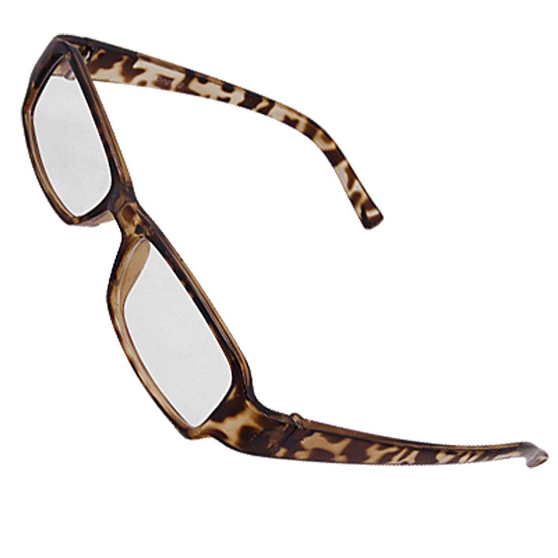 Rectangle Leopard Print Frame Clear Lens Glasses for Ladies Men