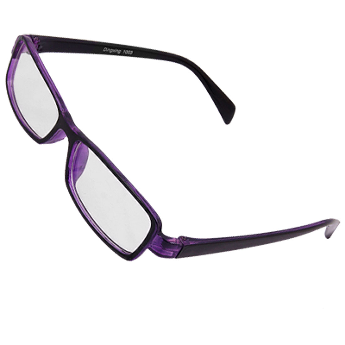 Unisex Rectangle Clear Lens Purple Black Frame Glasses Egzjt