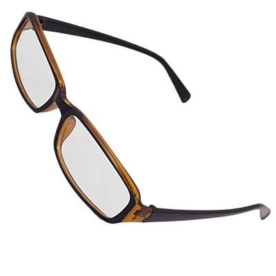 Unisex Black Brown Frame Rectangle Clear Lens Glasses