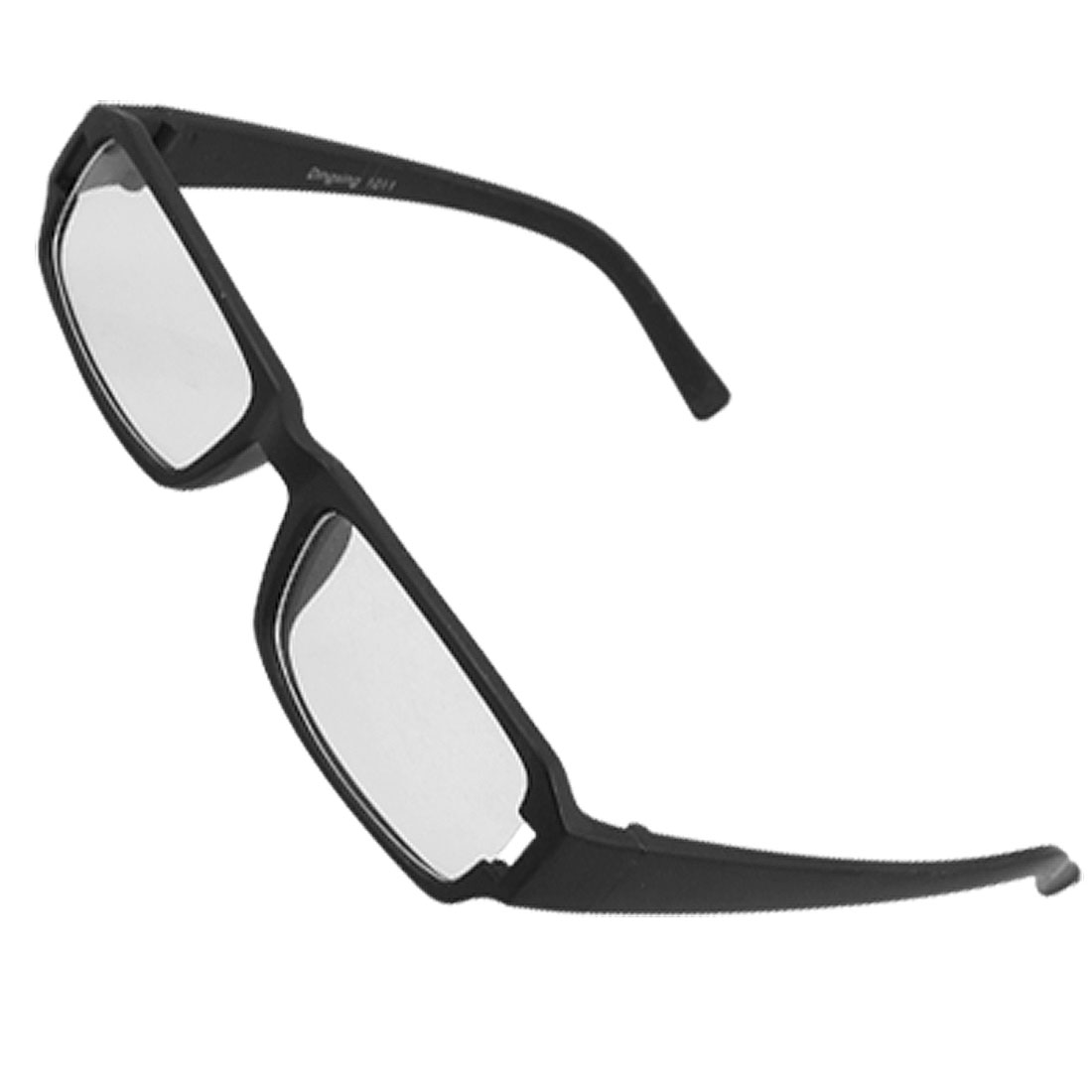 Unisex Black Rectangle Rubberized Plastic Frame Glasses