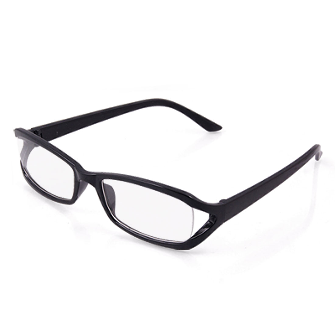 Black Polished Plastic Full Rim Clear Lens Glasses