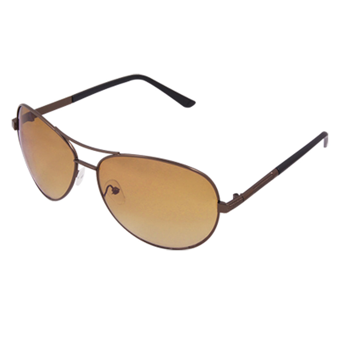Ladies Brown Oval Lens Metal Dual Bridge UV Protection Sunglasses