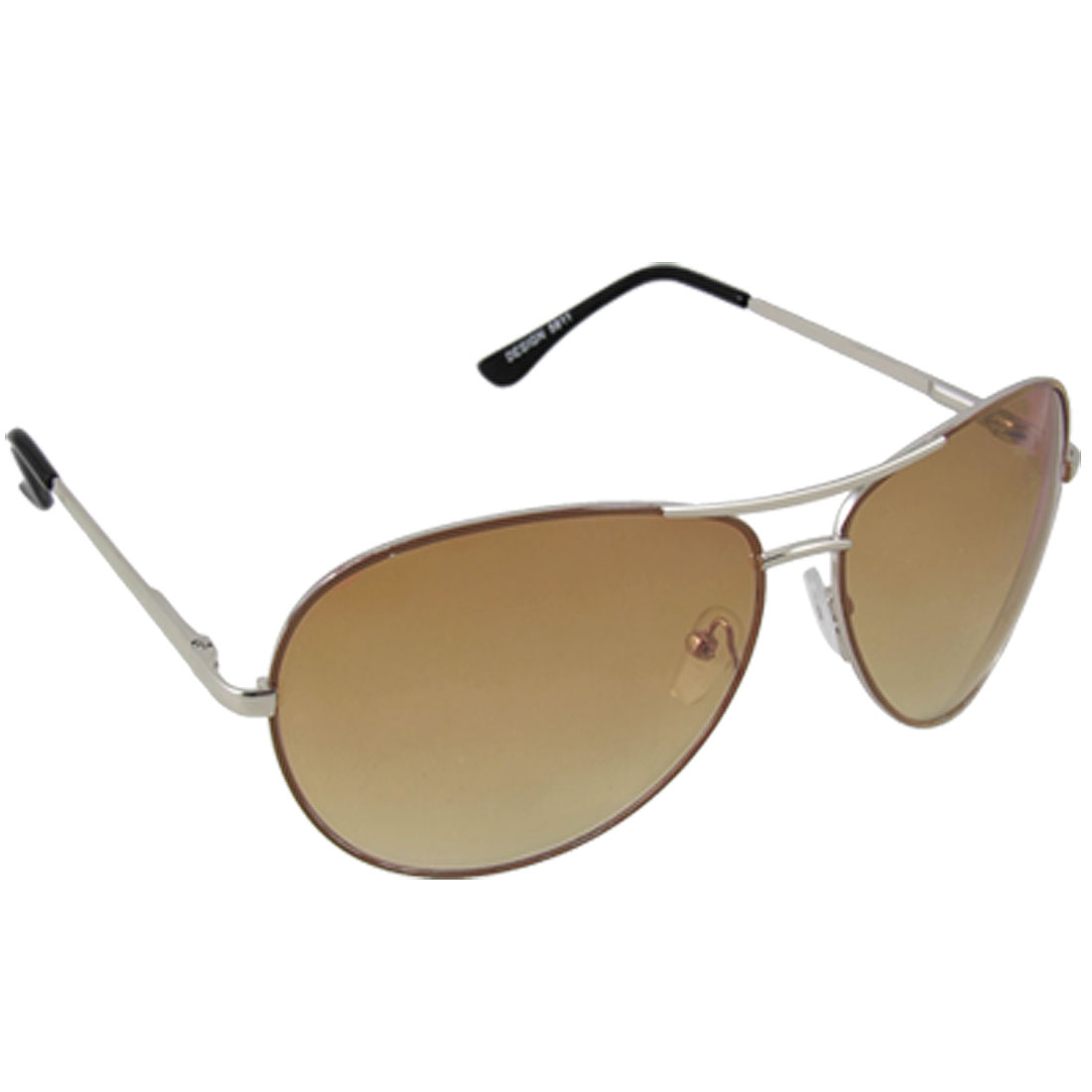 Men Pilot Style Oval Tan Lens Amaranth Frame Sunglasses