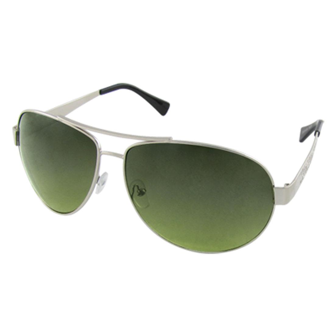 Silver Tone Full Rim Frame Black Plastic Coated Sunglasses