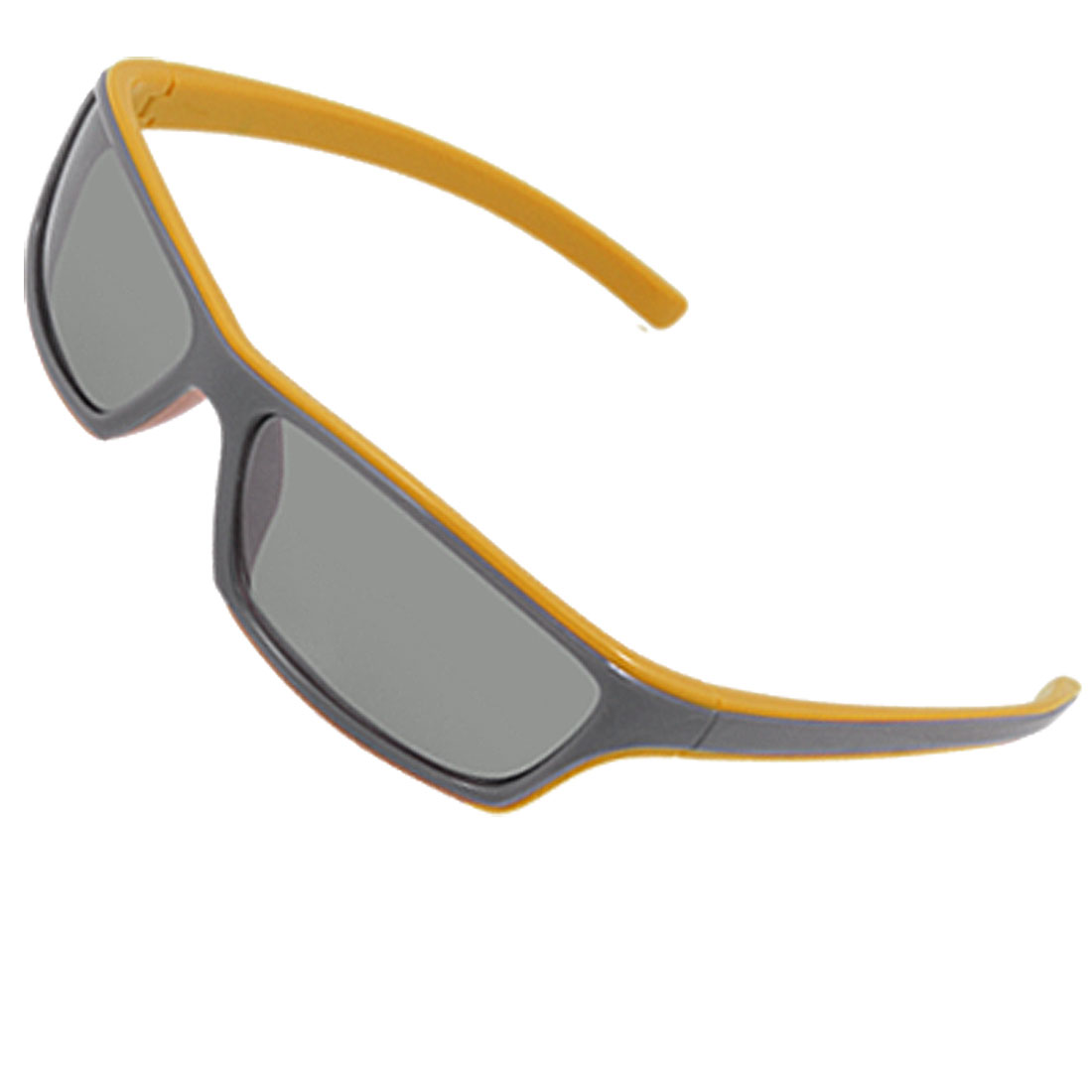 Yellow Gray Plastic Full Frame Flat Top Sunglasses