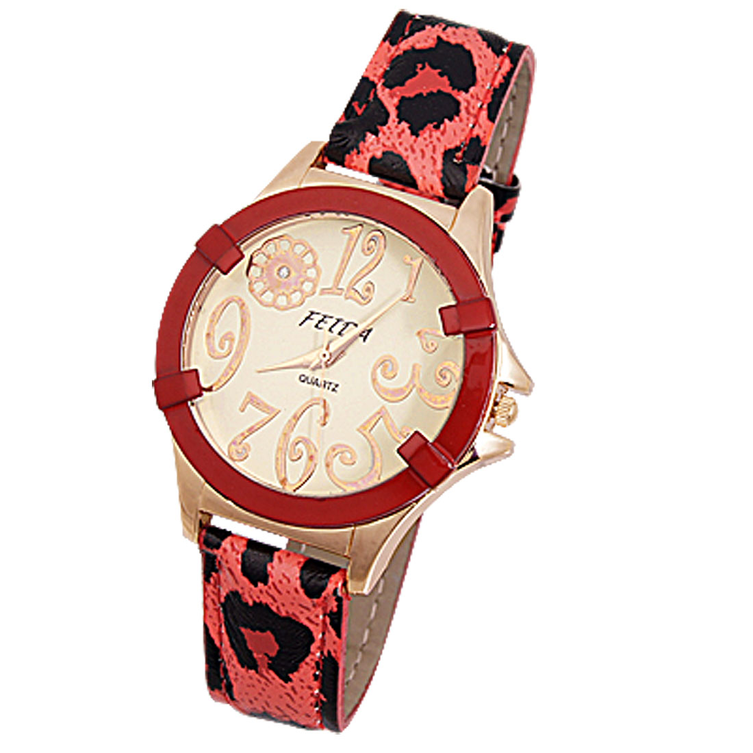 Watermelon Red Leopard Printed Adjustable Band Quartz Watch for Lady