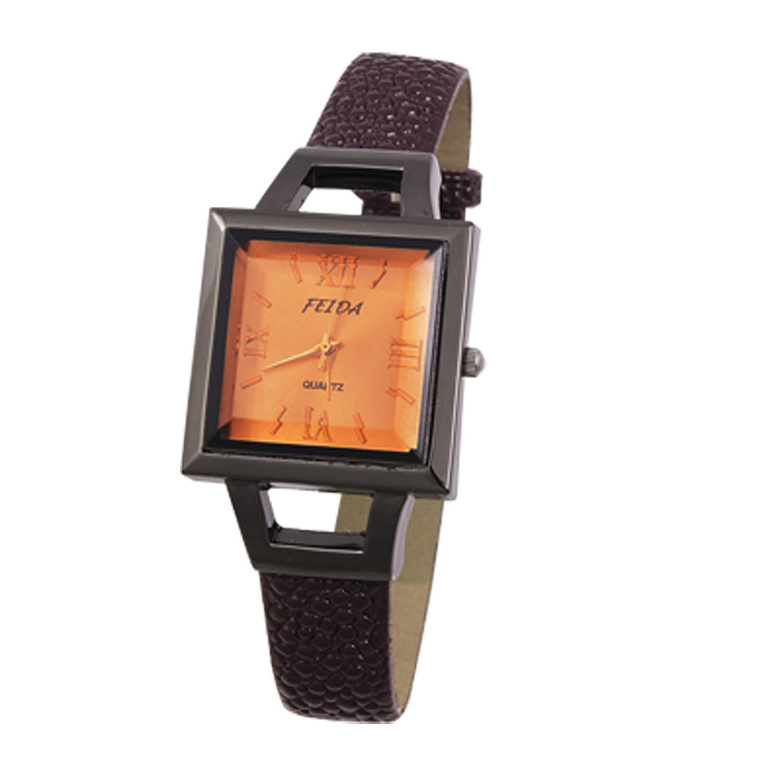 Lady Cut-out Dial Faux Leather Dot Printed Watch Coffee