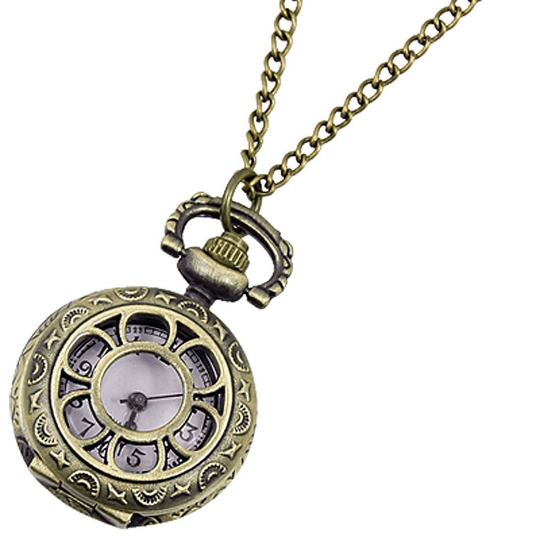 Floral Texture Bronze Tone Hunter Case Pocket Watch for Lady