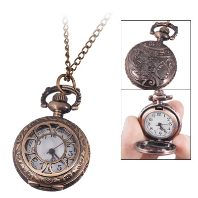Ladies Copper Tone Hollow Out Hunter Case Necklaces Watch