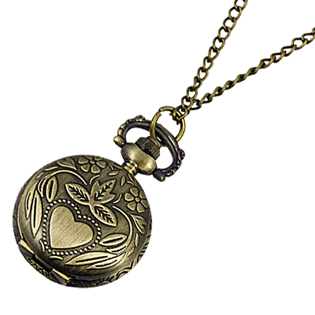 Ladies Arabic Numbers Scale Necklace Pocket Watch Bronze Tone