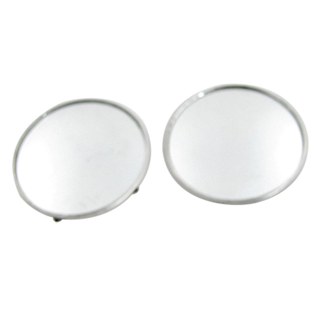 "2 PCS 2"" Diameter Silver Tone Car Convex Blind Spot Mirror"