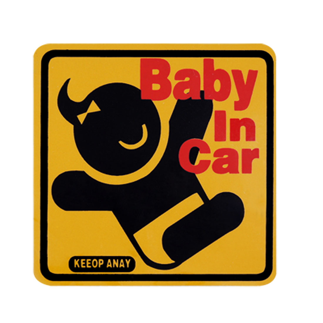 Baby In Car Vehicle Yellow Vinyl Square Sticker Decal
