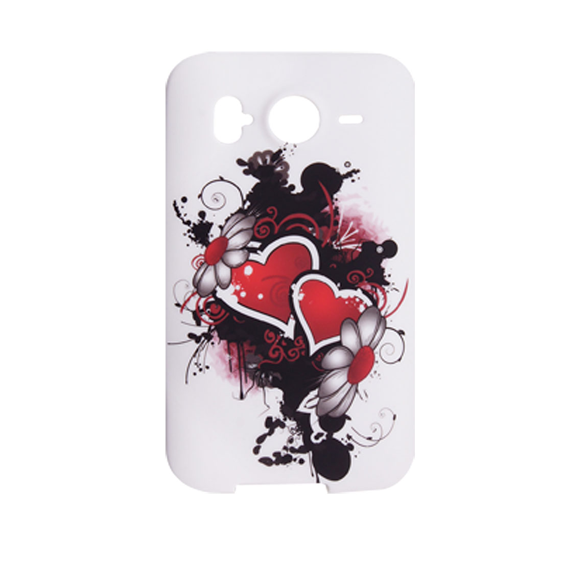 Heart Flowers Painting Design Soft Plastic Case for HTC Desire HD