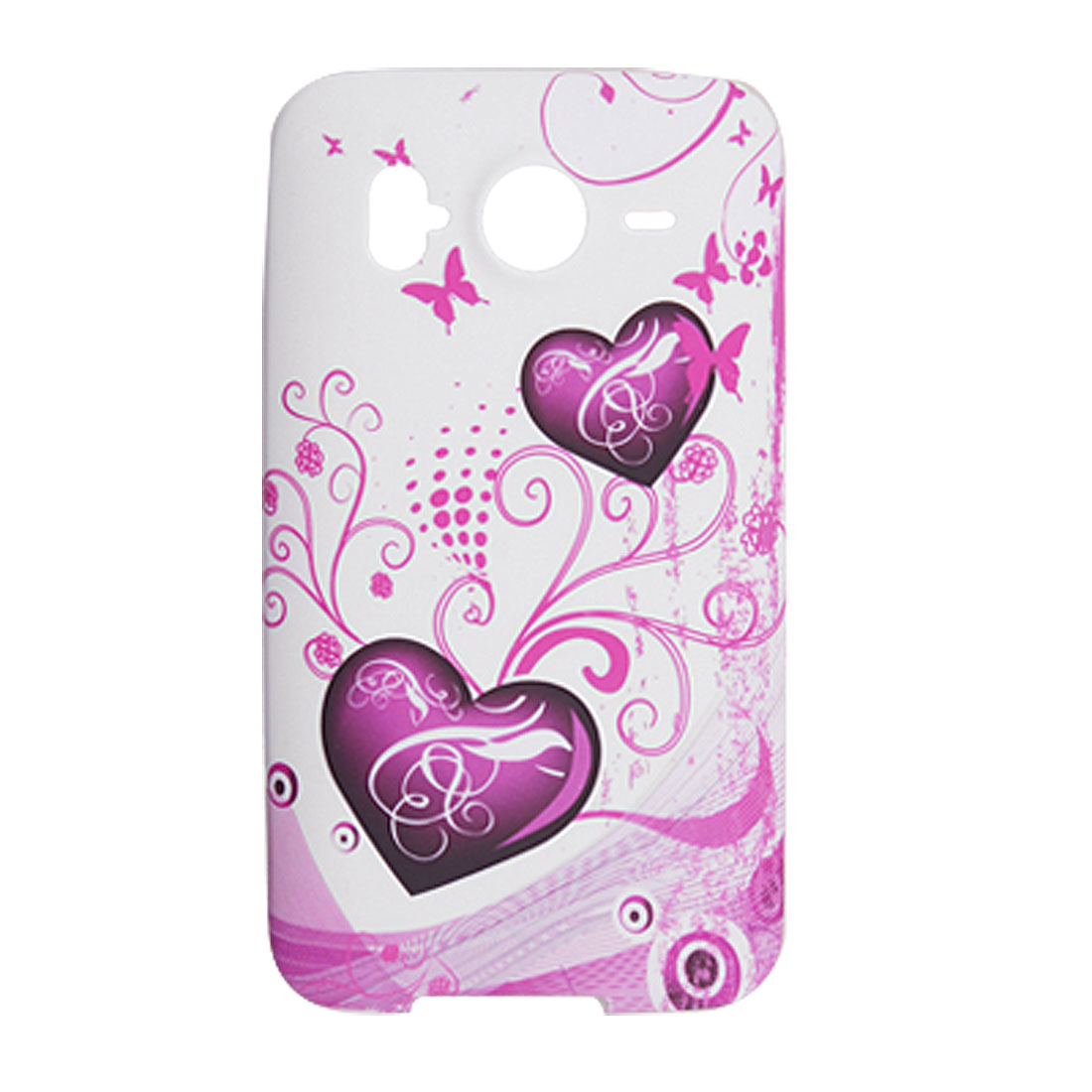 Fuchsia Heart Butterfly Prints Soft Plastic Case for HTC Desire HD