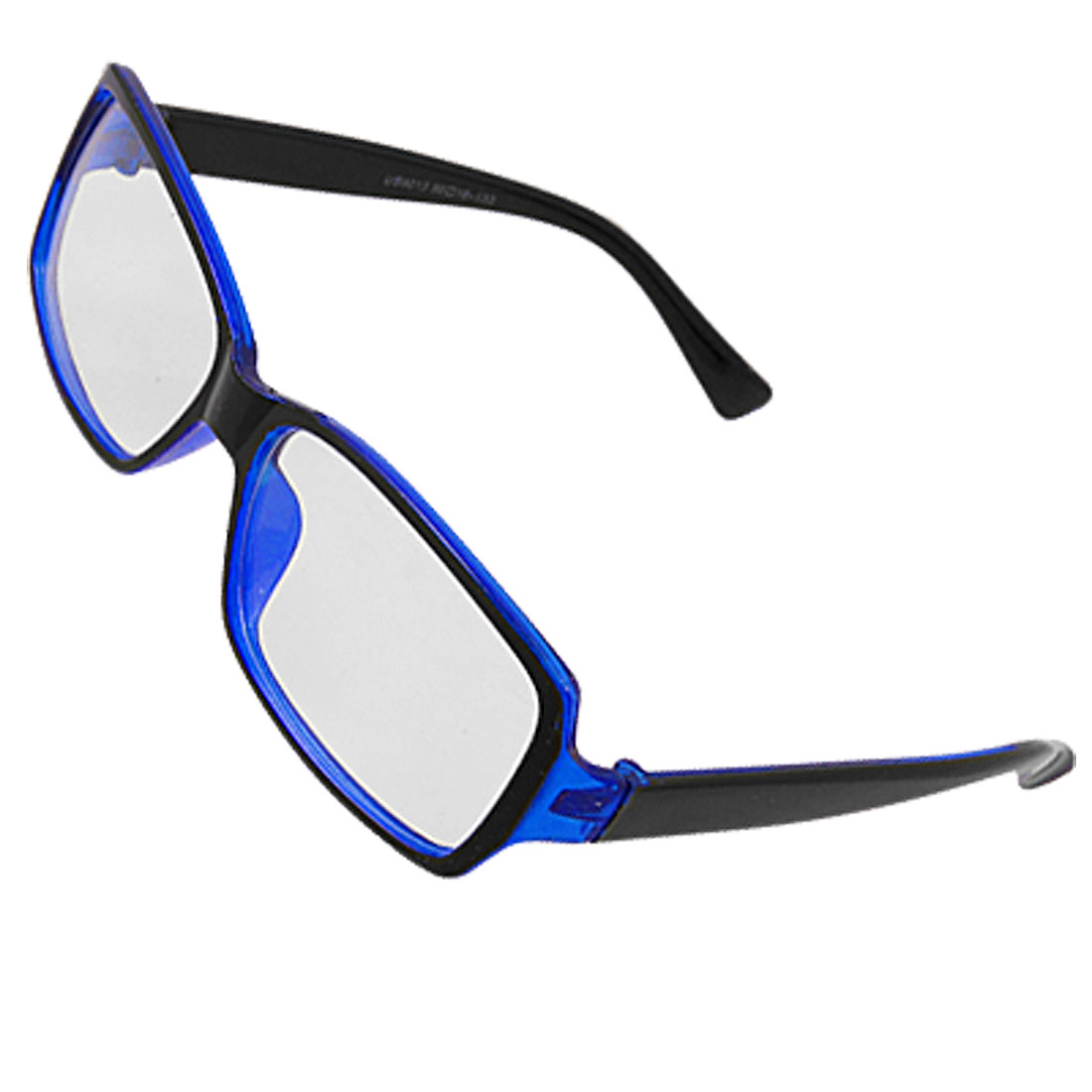 Blue Black Plastic Rectangle Lens Full Frame Plano Glasses