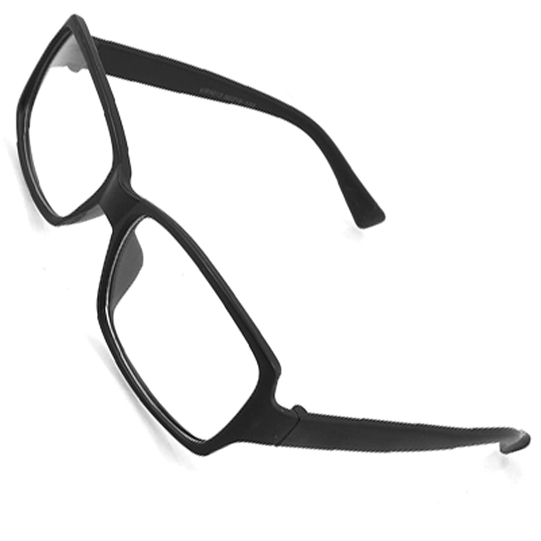 Rectangle Shaped Clear Lens Plastic Black Plain Glasses