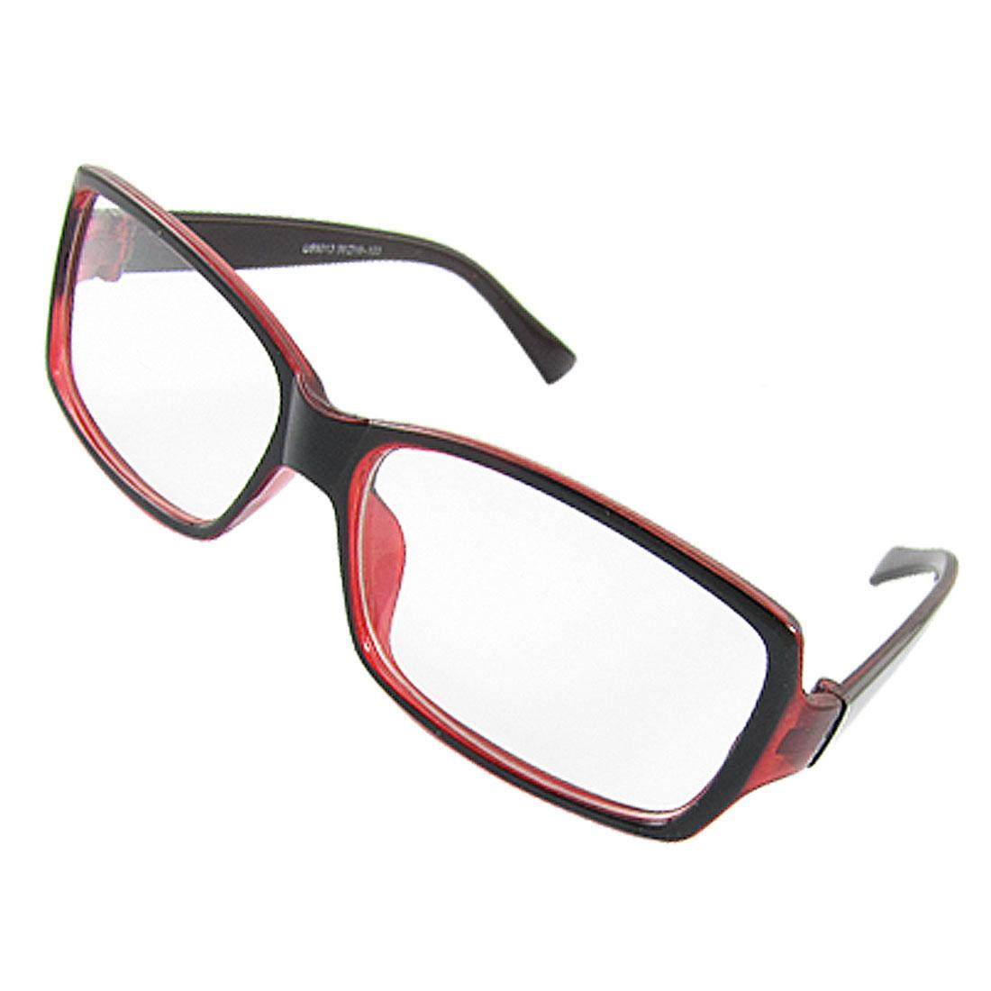 Black Red Plastic Plano Lens Plain Eyeglasses for Unisex