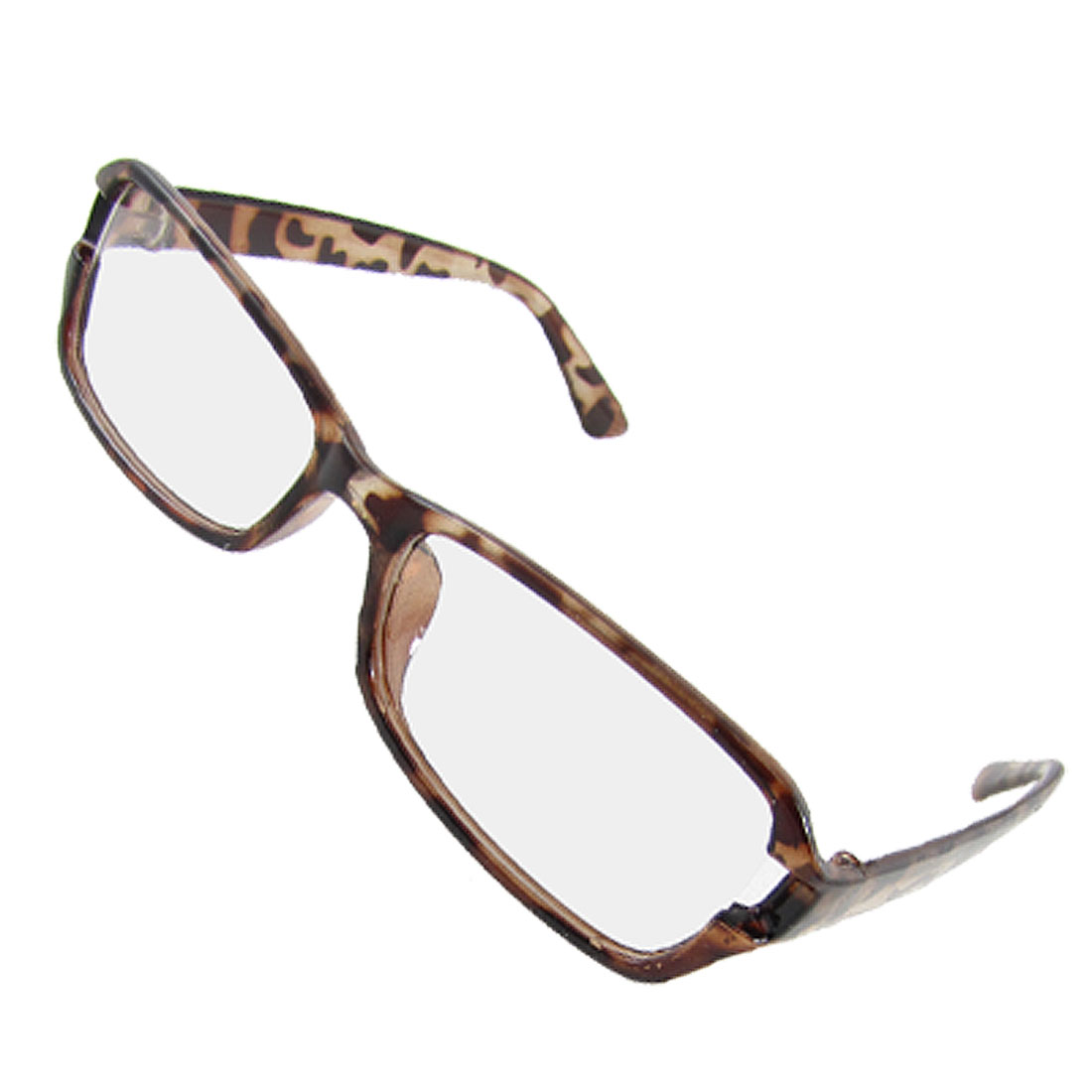 Unisex Leopard Printed Plastic Clear Lens Plano Glasses