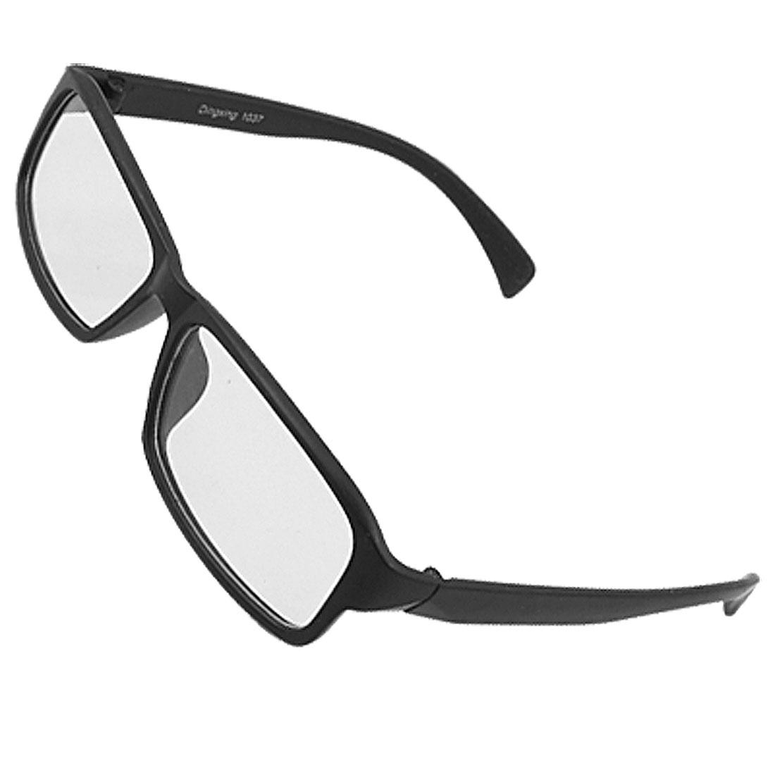 Unisex Black Plastic Full Frame Rectangle Lens Plain Glasses
