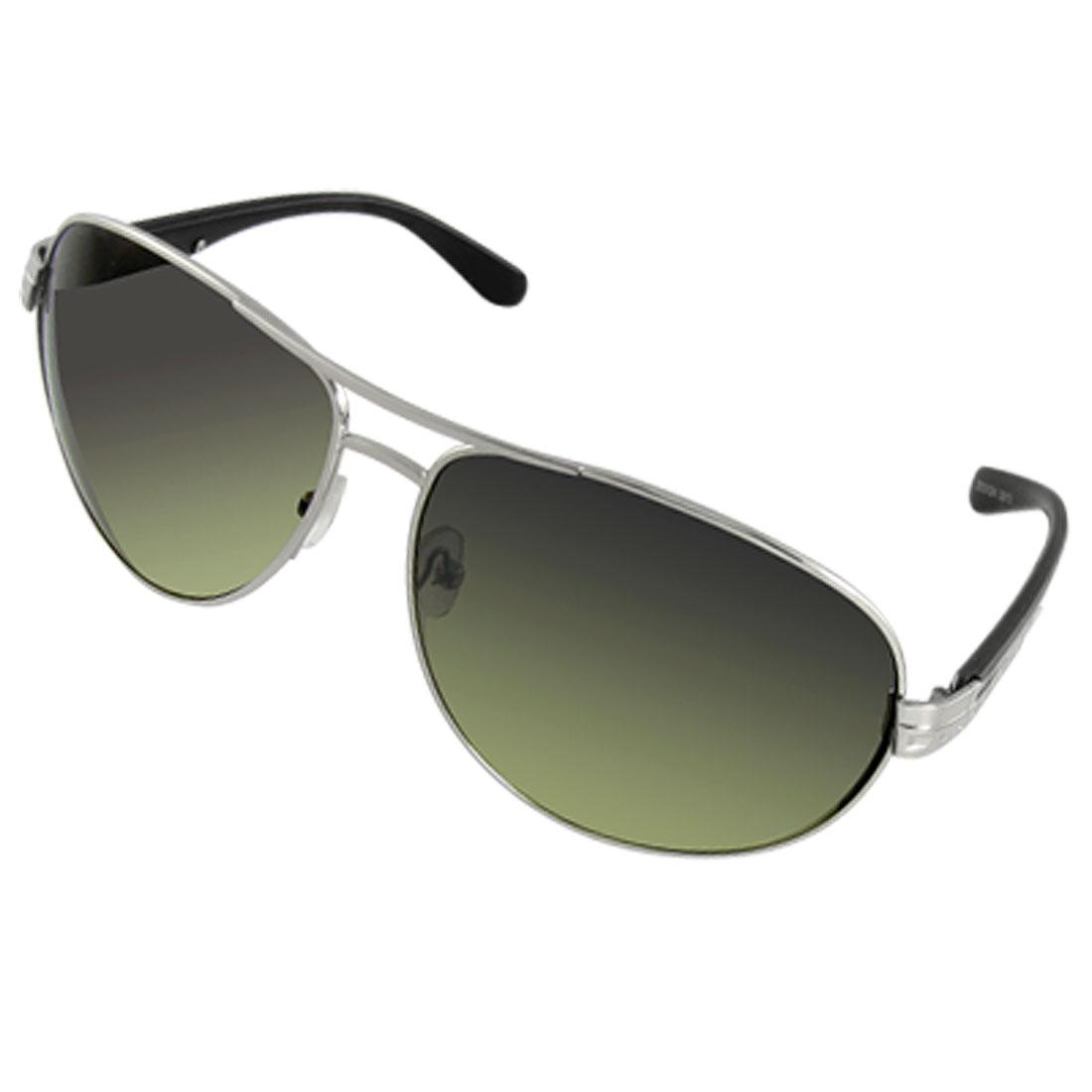 Man Black Plastic Arm Silver Tone Frame Sports Sunglasses