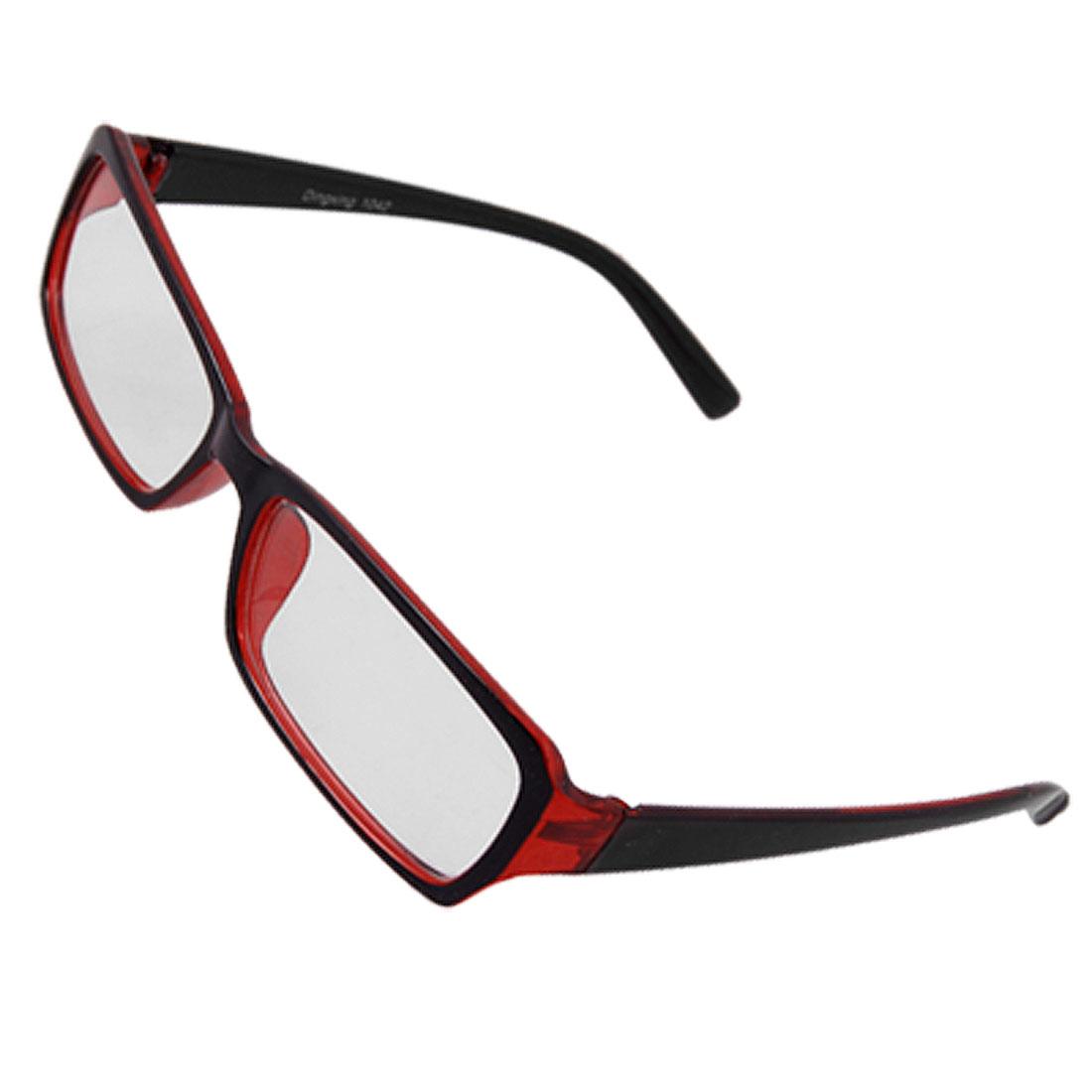 Unisex Plastic Full Frame Plano Glasses Eyeglasses Red Black