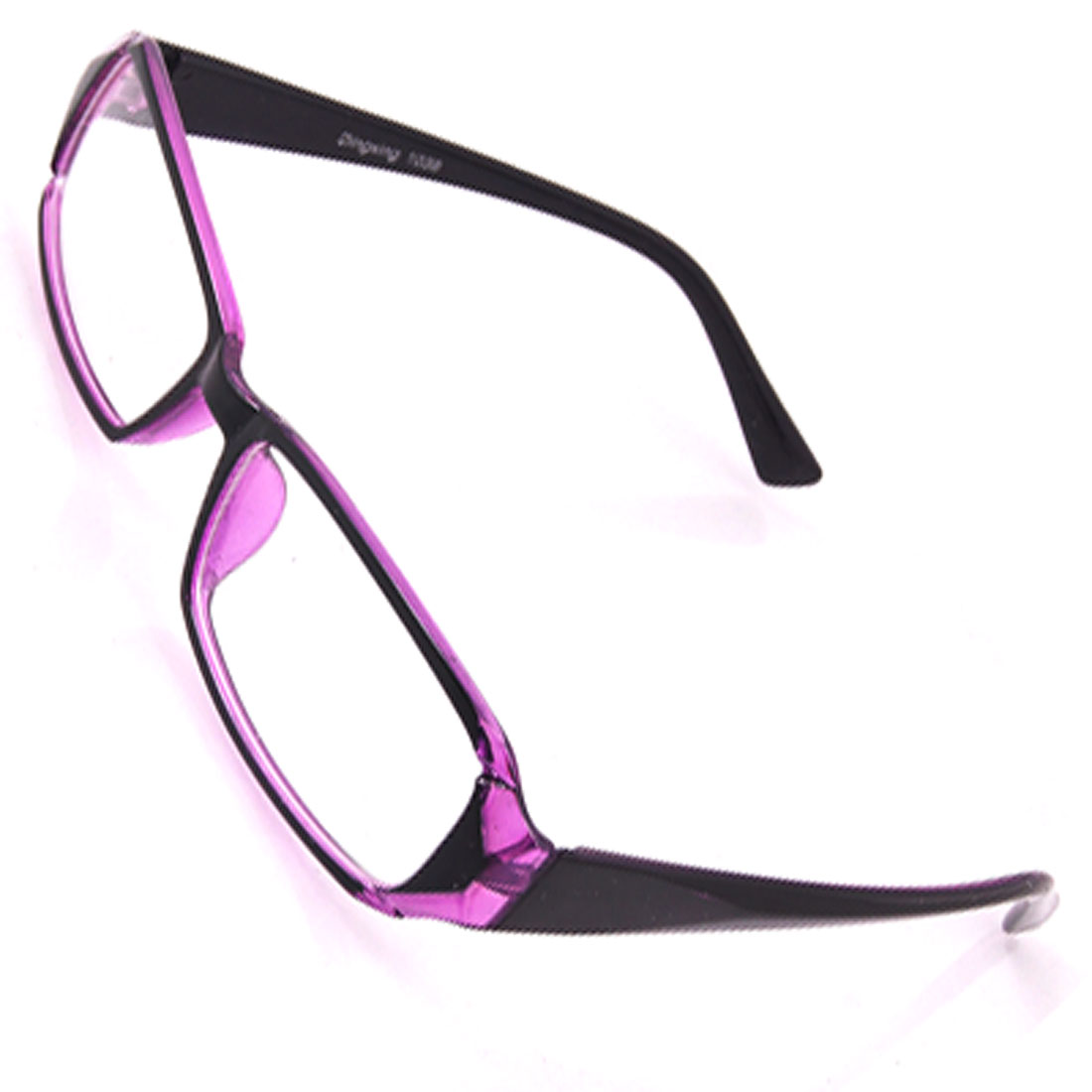 Clear Rectangle Lens Purple Black Plain Glasses for Unisex