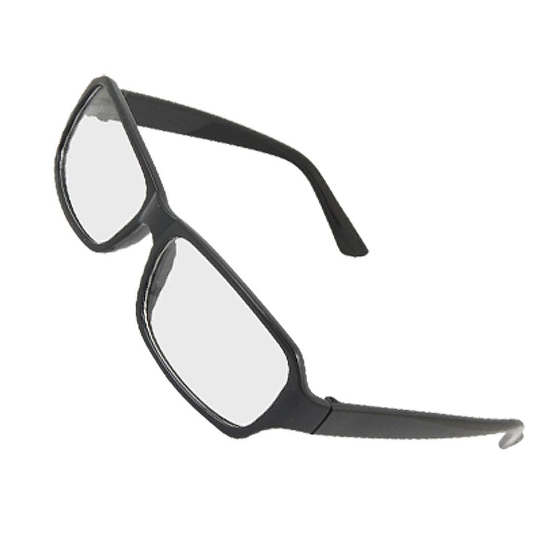 Lady Black Rectangle Clear Lens Plain Eyegalsses Eyewear
