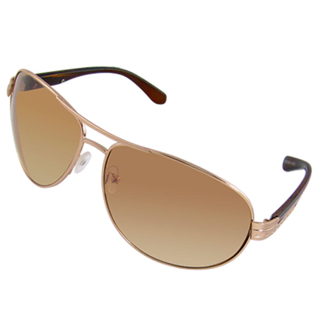 Copper Color Square Alloy Decor Arm Man Sports Sunglasses