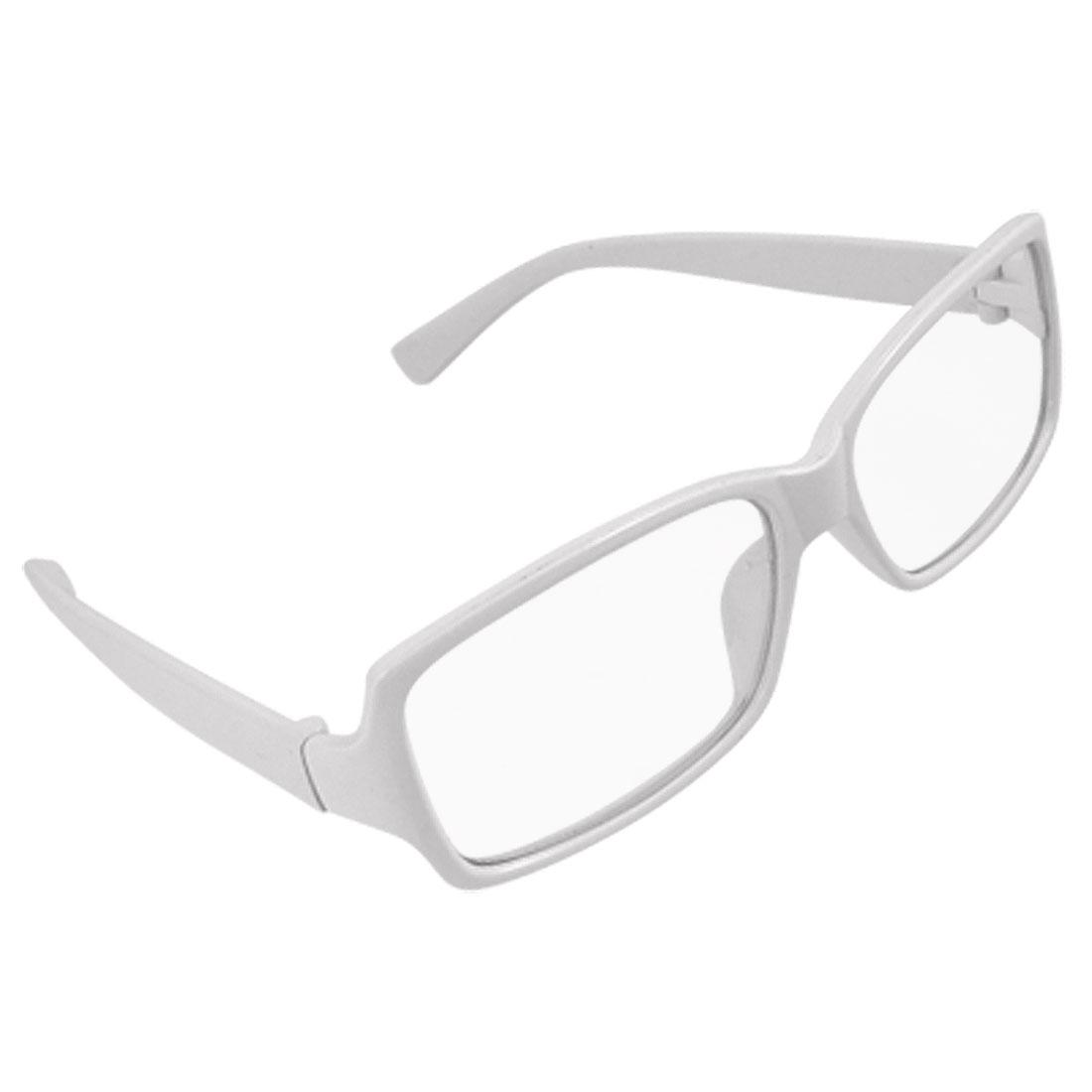 Plastic White Frame Arms Rimmed Clear Lens Unisex Glasses