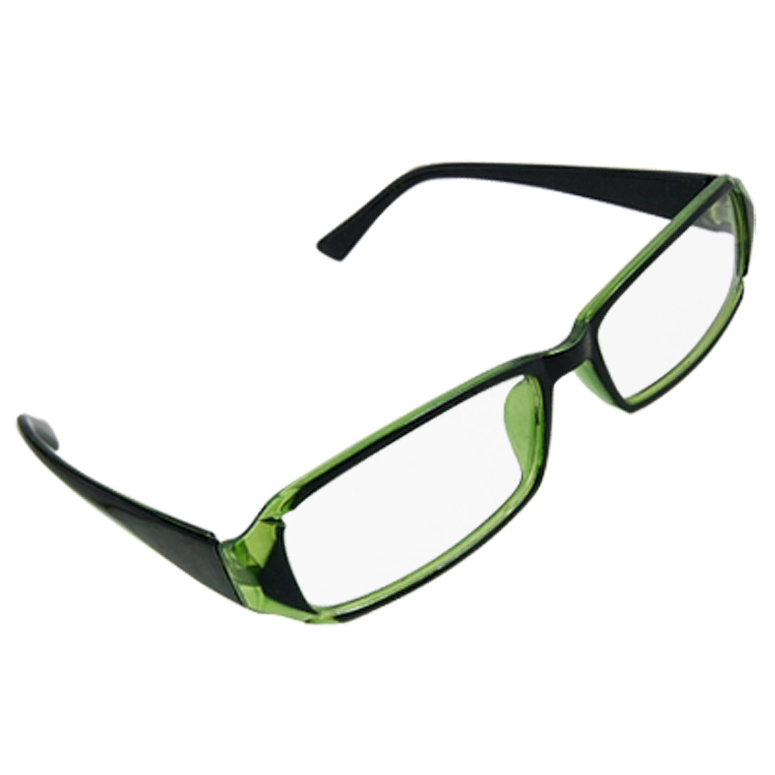Unisex Black Green Frame Full Rim Clear Lens Plano Glasses