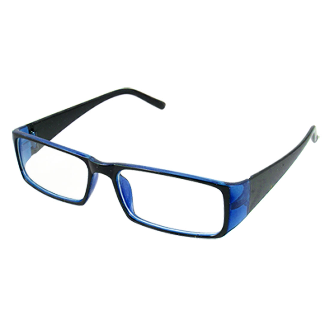 Unisex Black Blue Frame Full Rim Clear Lens Plano Eyeglasses