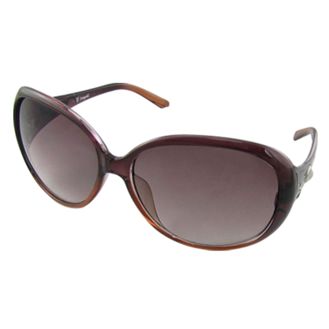 Lady Dark Purple Plastic Full Rimmed Frame Outdoor Sunglasses