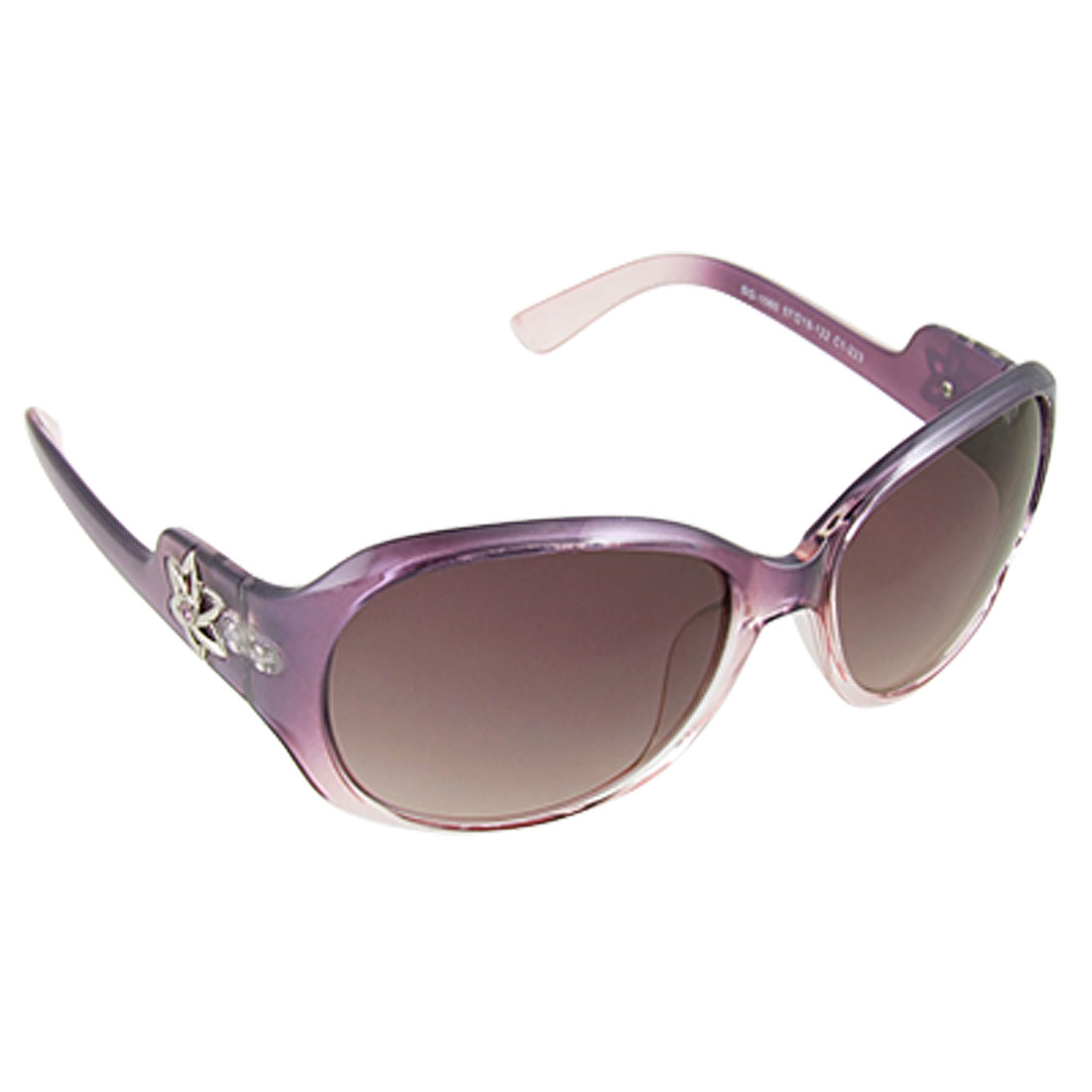 Ladies Purple Full Frame Flower Arm Single Bridge Sunglasses