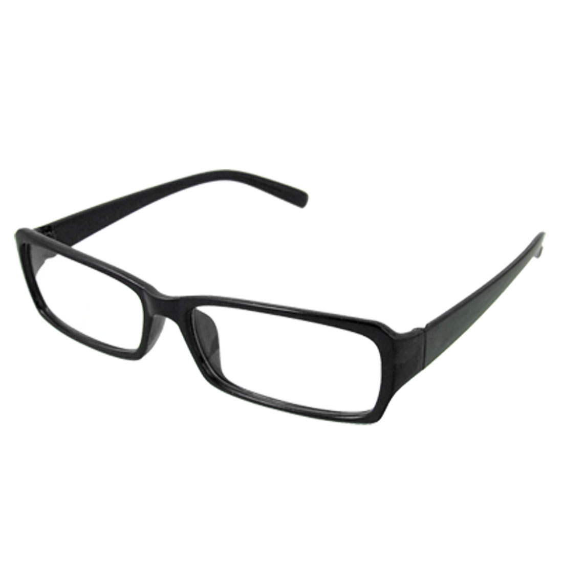 Black Frame Rimmed Plastic Arms Clear Lens Plano Glasses for Unisex