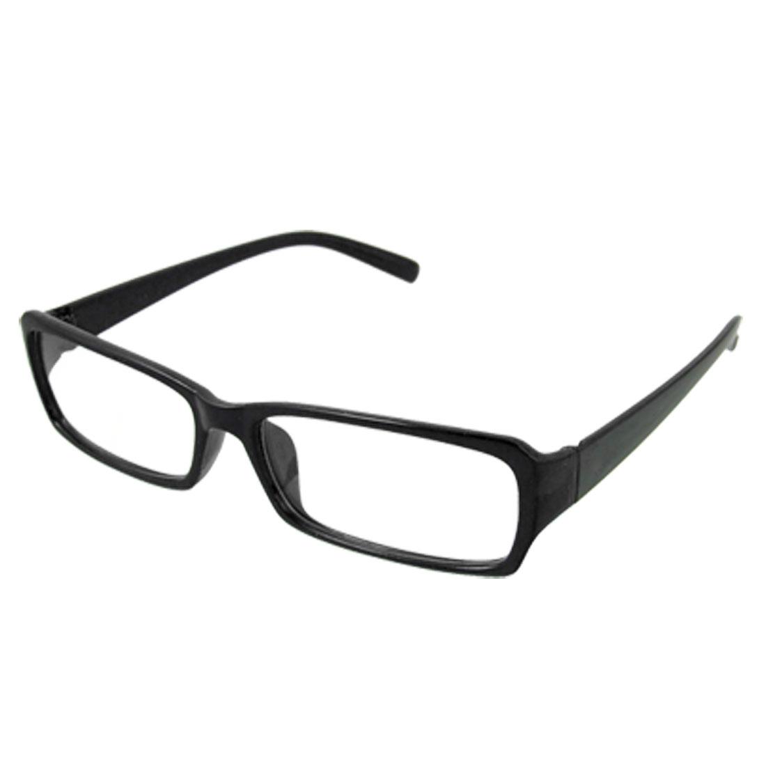 Black Frame Rimmed Plastic Arms Clear Lens Plano Glasses for Unisex