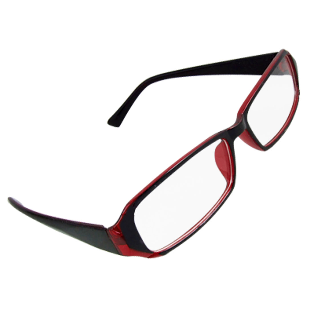 Black Red Frame Full Rim Clear Lens Lady Plano Eyeglasses