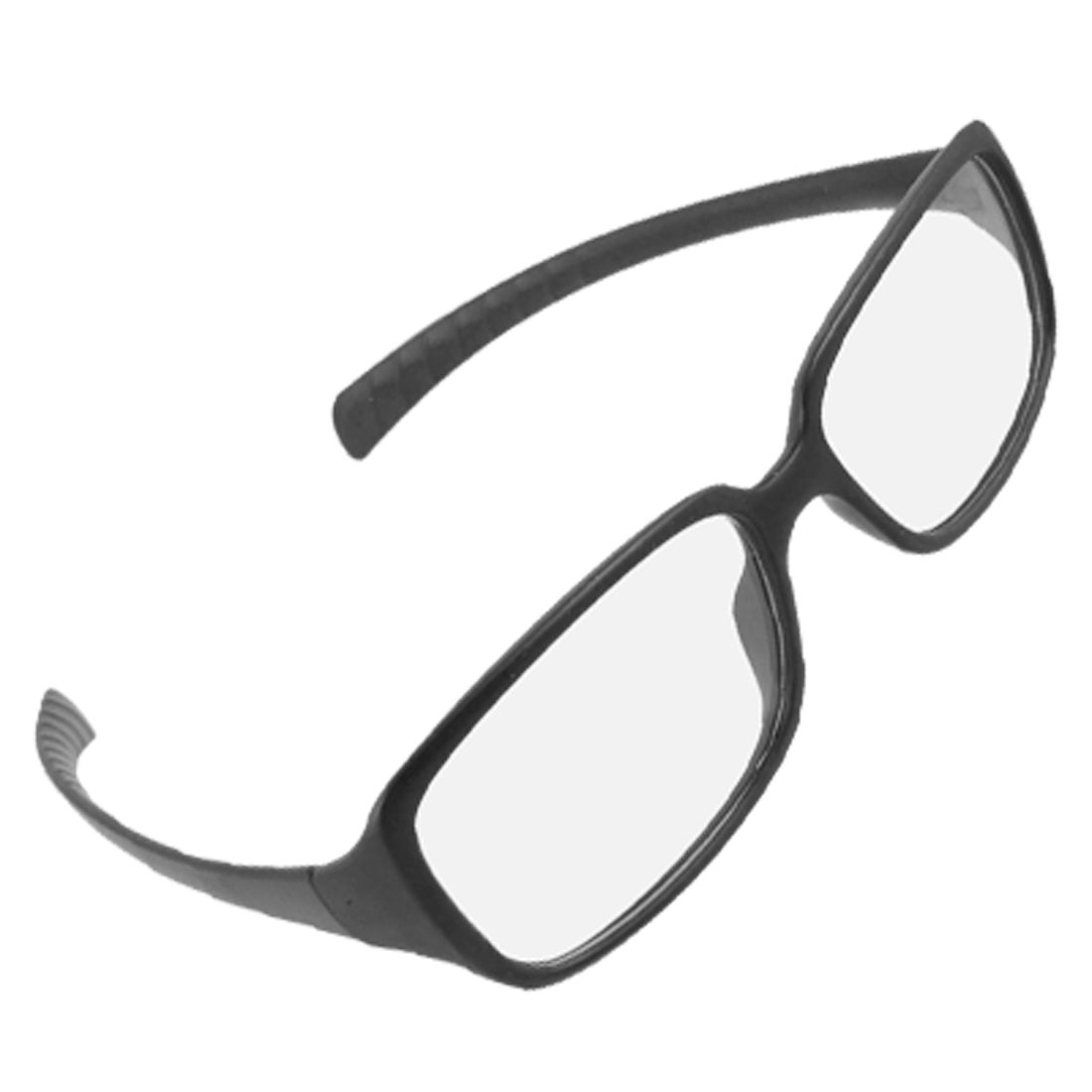 Unisex Rimmed Black Frame Ribbed Arms Clear Lens Plano Glasses