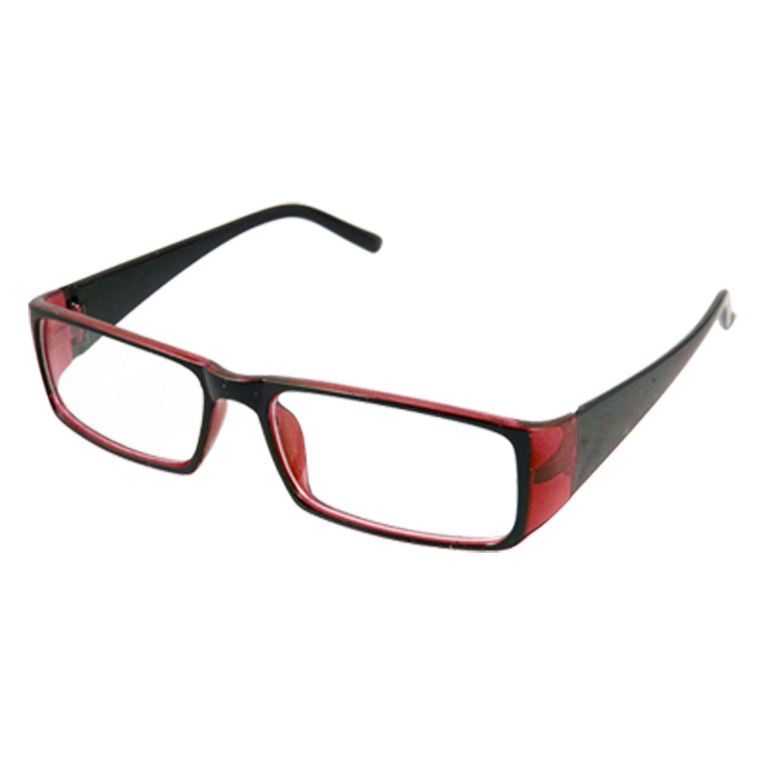 Ladies Red Black Frame Full Rim Rectangle Lens Plano Glasses