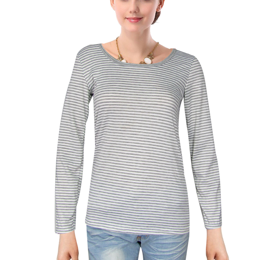 Long Sleeve Stripe Spring Gray White Shirt for Lady XS