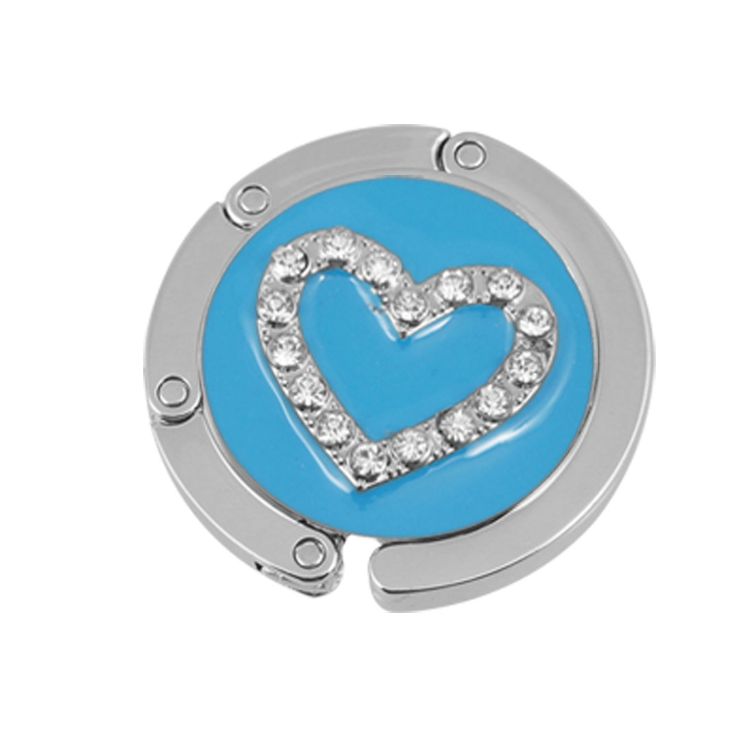 Rhinestone Heart Accent Skyblue Round Foldable Hook Handbag Table Hanger