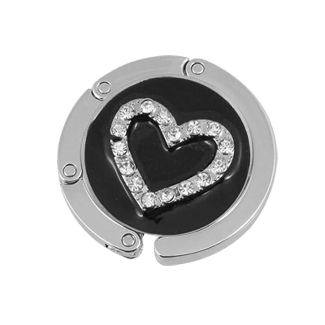Glittery Rhinestone Heart Detail Black Foldable Handbag Hook Table Hanger