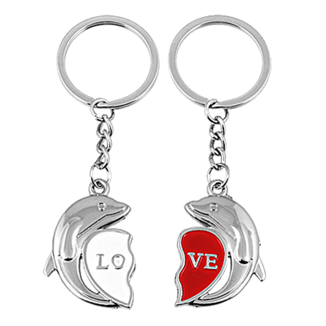 2 Pcs Couple Dolphin Love Heart Key Chain Ring Keychain