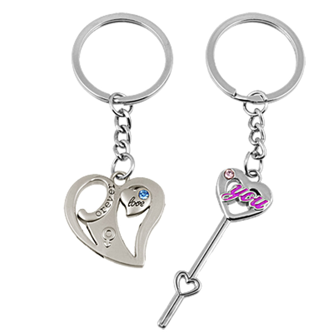 2 Pcs Couple Love Arrow Key Chain Dual Heart Keychain