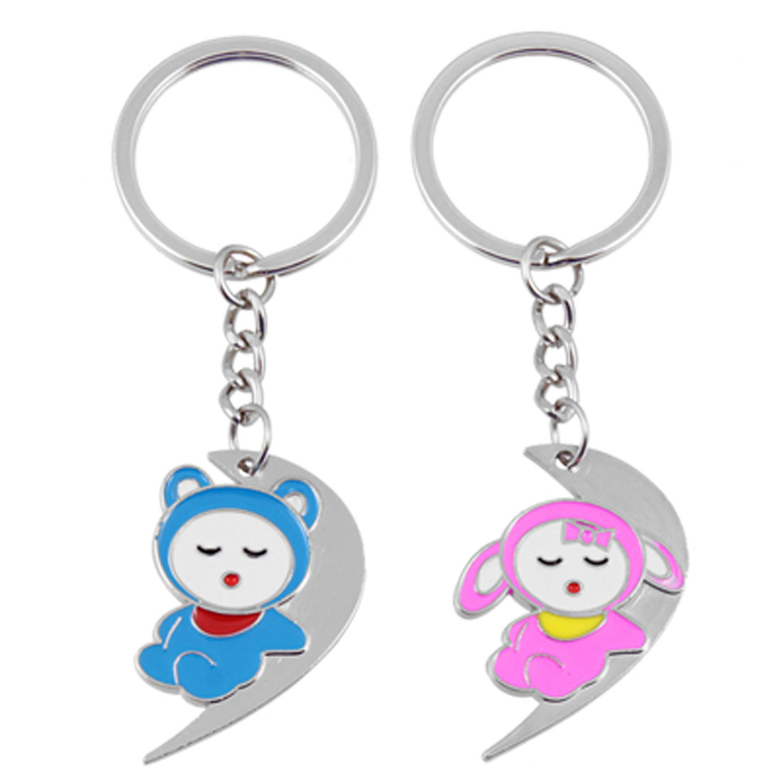 2 Pcs Lovers Figure Pendant Metal Keychain Key Chain