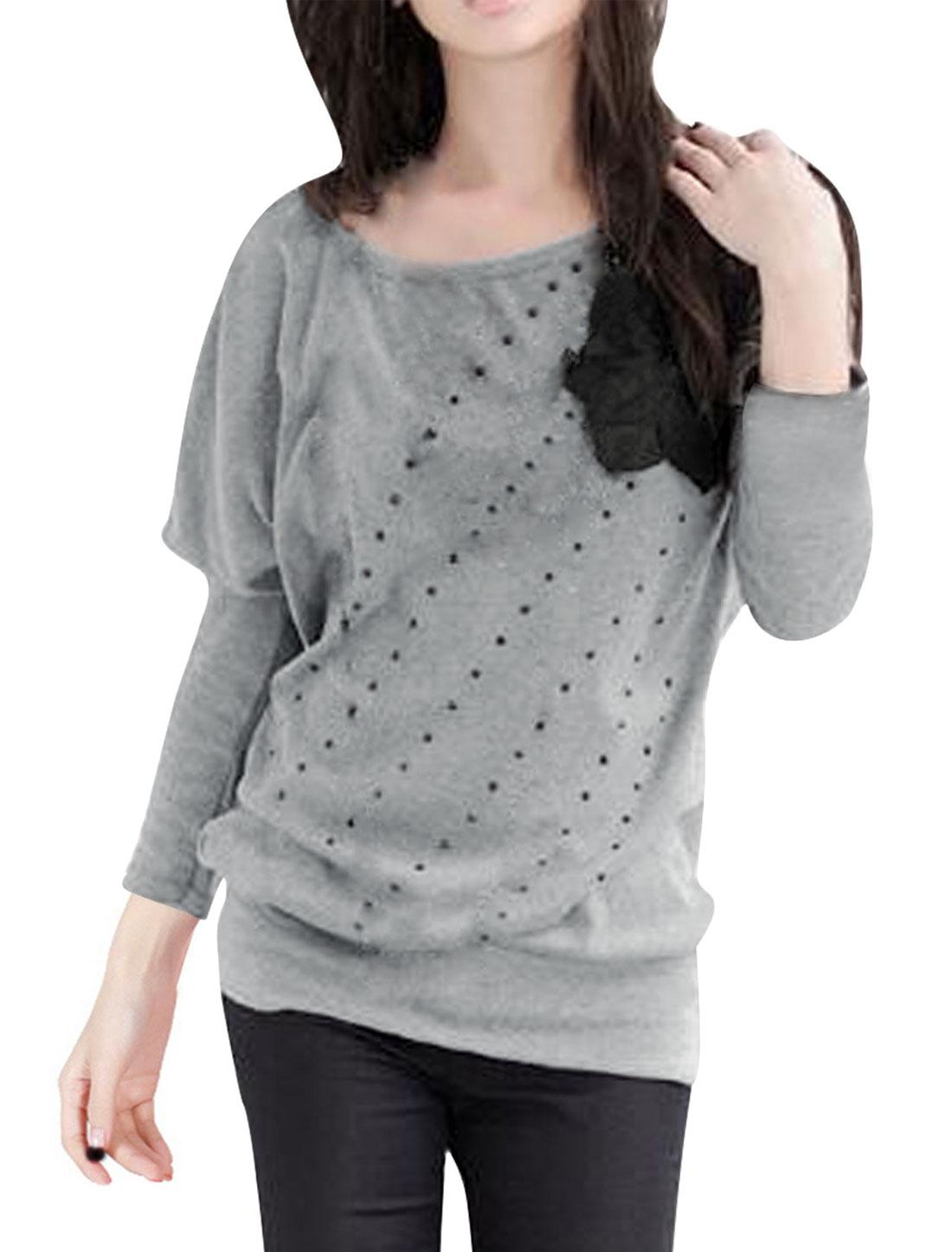 Ladies Plastic Dots Decor Black Velvet Flower Gray Shirt S