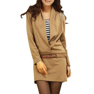 Women V Neck Long Sleeve Autumn Shirt w Faux Leather Belt